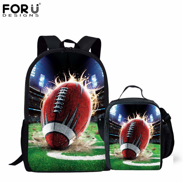 FORUDESIGNS 3D Ball Pattern Boys Orthopedics School Bags Fashion Childrens Book Bag Bagpack for Primary Student 2PCS Set Mochila