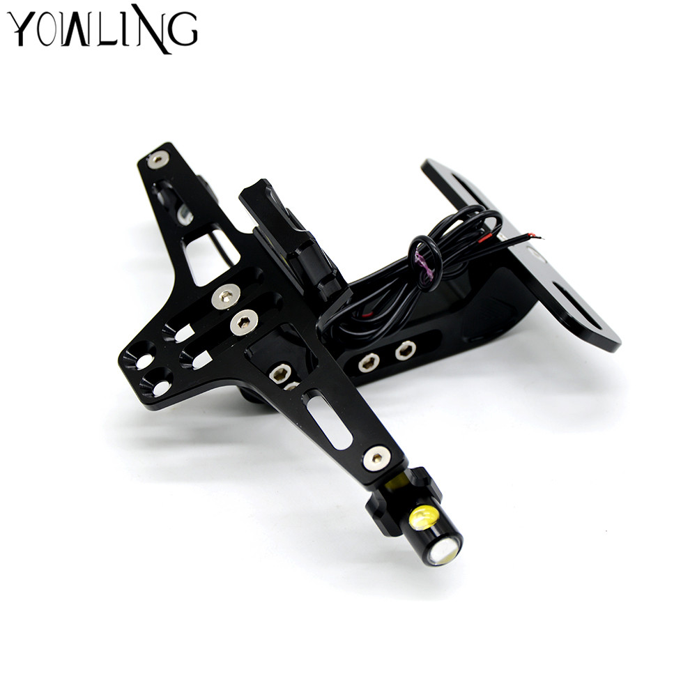 Motorcycle Adjustable Angle License Number Plate Frame Holder Bracket For Kawasaki Z800 z750 z1000 SX ninja 250 300 Sport Bike in Covers Ornamental Mouldings from Automobiles Motorcycles