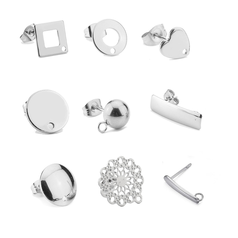 120pcs/lot Wholesale Dull Silver Bar Shape Stainless Steel Stud Earring For DIY Earring Jewelry Making Korea Jewelry Findings