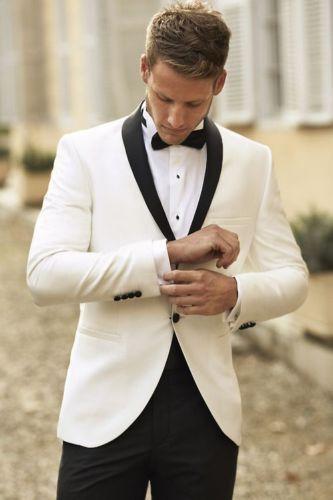 Costumes Marié Mariage Smokings Et Costume Noir Revers Blanc Châle Garçons Pantalon D'honneur De Hommes IYD2W9EH