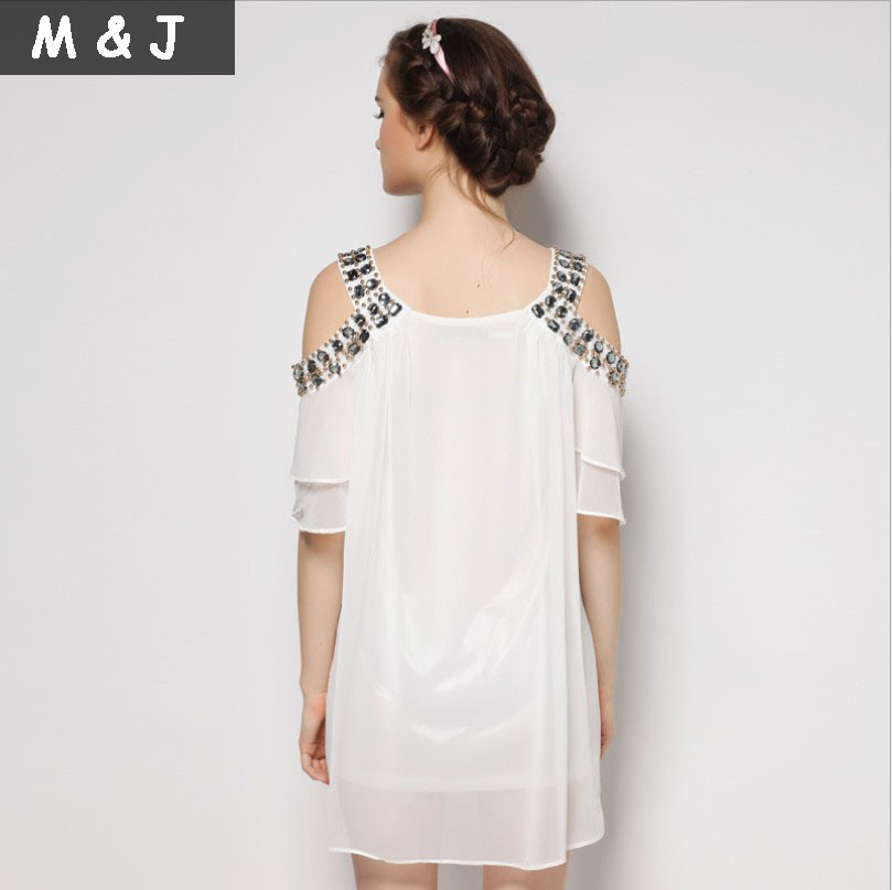 665e99f9cc 2014 summer fashion elegant women chiffon dress preppy style sparkle nail  beads cute hippie boho tunic beach dress high quality-in Dresses from  Women's ...