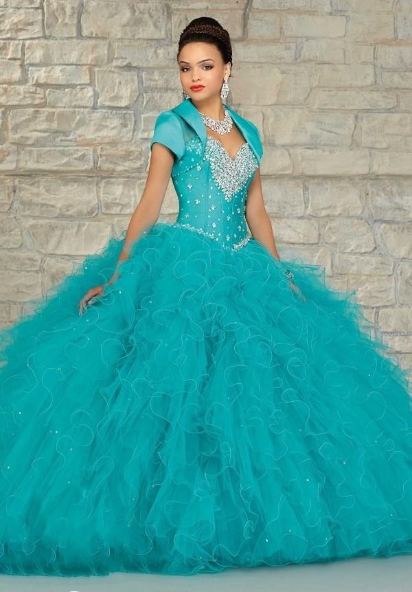 26ffec3b3 Vestidos Quinceañeras Párr 2016 Por Encargo Azul Rojo Rebordear Lentejuelas  Crystal Ruffles vestido de Bola Vestido de Quinceanera con la Chaqueta en  ...