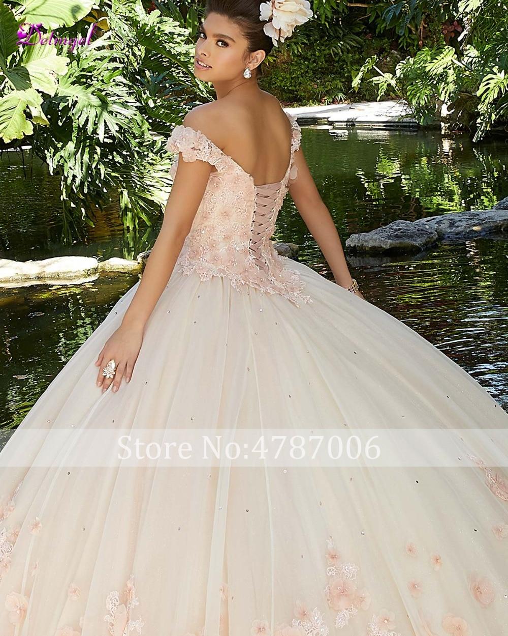 Detmgel Sexy bateau cou perlé fleurs robe de bal Quinceanera robes 2019 de luxe Appliques Debutante robe pour Vestido de 15 anos - 6