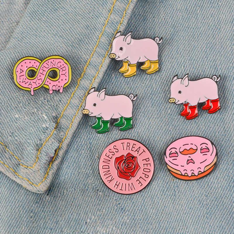 Merah Muda Koleksi! Harry Styles Pin Bulat Mawar Bunga Sepatu Bot Hujan Babi Enamel Lembut Kerah Pin Bros