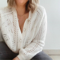 Super Chic Jumper Cardigan Women Sweater Women Wool Mohair Jumper Sweater with Buttons