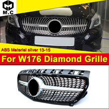 Fits For MercedesMB W176 Diamond grille grill Sport A45AMG look A-Class A180 A200 A250 A260 Front bumper ABS silver 13-15