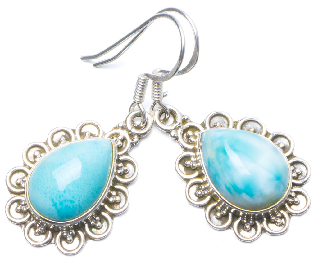 Natural Caribbean Larimar Handmade Unique 925 Sterling Silver Earrings 1.25 Y0436