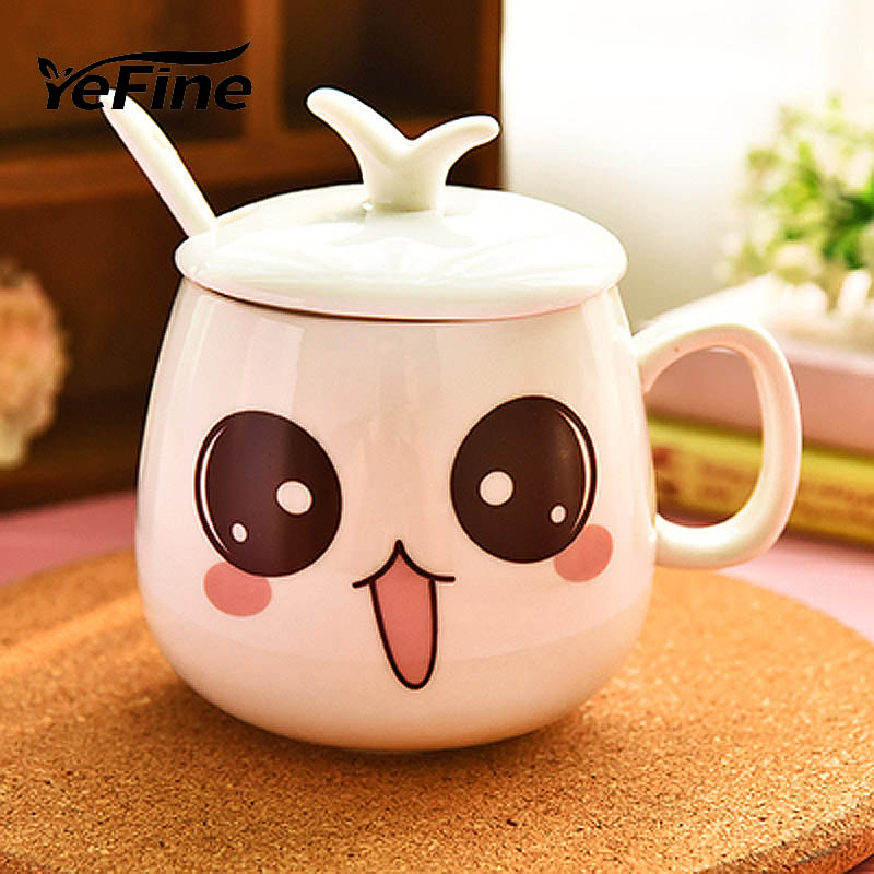 YeFine Porcelain Coffee Mugs Creative Gift Cartoon Expression Pottery Tea Cups And Mugs Ceramic Mugs 320 ml Cups For Milk