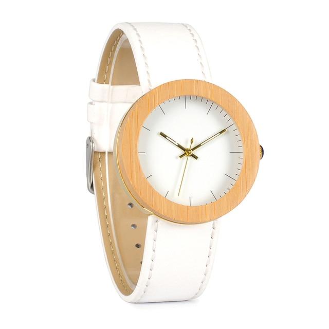 Reloj de madera y cuero pulso blanco 5