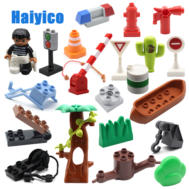 Original Assembly Big Building Blocks Bricks Tree Traffic Signs Hook Rotatable Accessories Compatible Duplo Baby Toys Sets Gift
