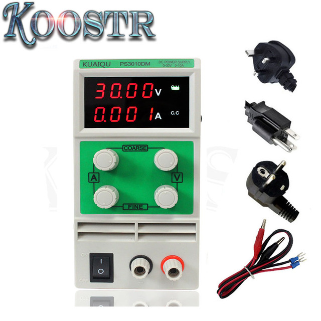 US $61 15 15% OFF|Mini Adjustable DC Power Supply laboratory Power Supply  Digital Variable Voltage regulator 30V 10A 4 led display PS3010DM-in AC/DC
