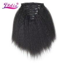 Lydia 8 stks/set 18 Clips In Haar Haarstukken 16 20 Inch Kinky Straight Lange Synthetische Hittebestendige Hair Extensions bundels
