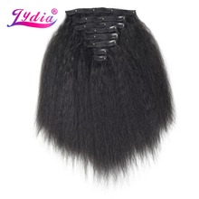 Lydia 8Pcs/set 18 Clips In Hair Hairpieces 16-20 Inch Kinky Straight Long Synthetic Heat Resistant Extensions Bundles