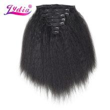 Lydia — Extensions de cheveux en fibre synthétique, mèches longues lisses, thermorésistantes, longueur 41-51 cm, 8 pièces avec 18 accroches