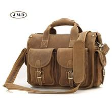 J.M.D Men's Fashion Excellent Genuine Cow Leather Brown-Yellow Business Briefcases Laptop Handbag Shoulder Bag 7106B