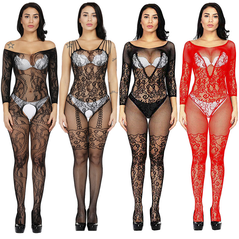 Womens Fishnet Sexy Erotic Lingerie Porno Costumes Teddies Crotchless Babydoll Plus Size