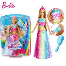 Original Brand Barbie Rainbow Lights Mermaid Doll Feature Mermaid  Doll The Girl A Birthday Present Girl Toys Gift Boneca barbie original brand holiday ethnic collectible barbie doll princess toy girl birthday present girl toys gift boneca drd25