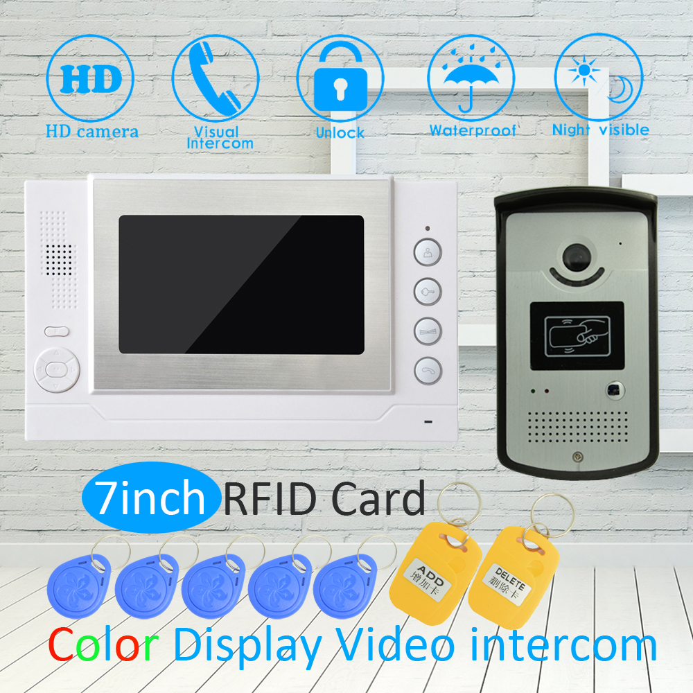 1 Set Smart Home device 1 to 1 7 inch LCD display Video door phone Door bell Intercom system with RFID unlock HD night camera