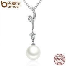 Bamoer 100% 925 concha perla de plata de la cadena de ondas colgante largo collares joyería de la boda collar de accesorios scn048