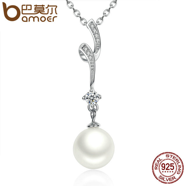 Sterling Silver Shell Pearl Wave Chain Long Pendant Necklace