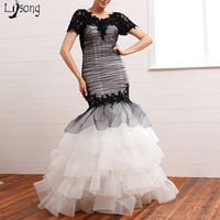 Fashion Black And White Tiered Appliques Sheath Mermaid Puffy Evening Dress Custom Made Backless Womens Formal