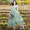 New High Quality Explosions Leisure Vintage color matching Dresses Women  print  Spring  Casual  Dress 1