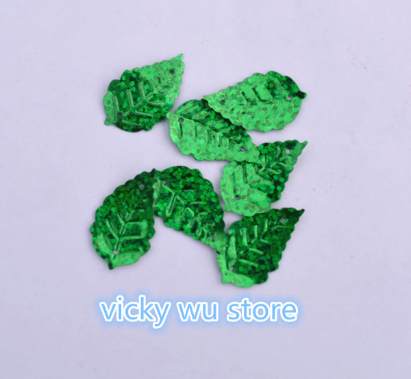 Hot 500pcs 13*24mm Leaf Loose sequins Laser Green color Paillettes Sewing Wedding Craft,Women Kids DIY Garment Accessory