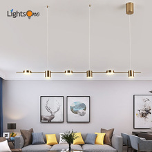 Moderno minimalista Lámpara colgante de restaurante barra de bar minimalista mesa comedor creativas luces colgantes de forma larga