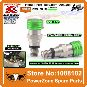 M5 0.8MM Green Fork Air Bleeder Relief Valve Motorcycle Motocross For KX125 KX250 KXF250 KXF450 CRF450 YZ125 WR250 Dirt Bike(China)