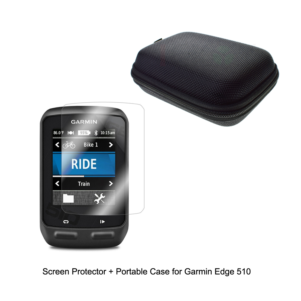 Outdoor Traveling Protect Portable Case Bag+Clear Screen Protector Shield Film for Garmin GPS Edge 510