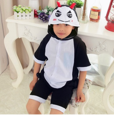 Childrens pajamas cotton spring Festival cartoon animal short - sleeved devil girl child home to serve the child
