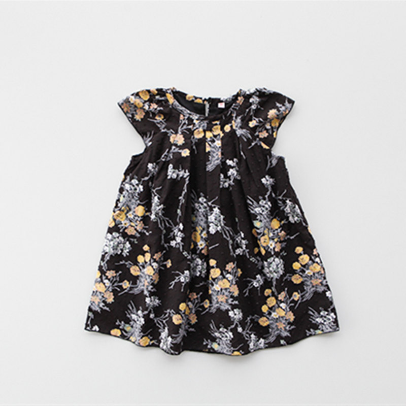 2017 Summer Floral Pattern Printed Black Dress for Baby Girls Sleeveless Party Dress for Girls Fashion
