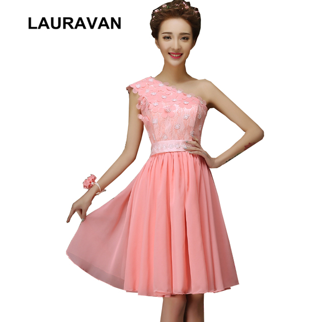 5c05f102483 formal short bridesmaid one shoulder knee length lace chiffon dress coral  colored dresses party for teens 2018 free shipping