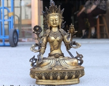 10 Tibet Bronze Copper Buddhist Temple White Tara Kwan-Yin Buddha Statue