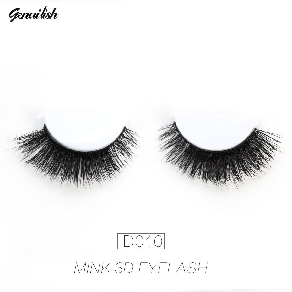 Genailish False Eyelashes 3D Mink Ögonfransar Naturliga Långa Skönhet Örhängen Falska Ögonfransar Ögonfransar Smink Ögonfransar D010