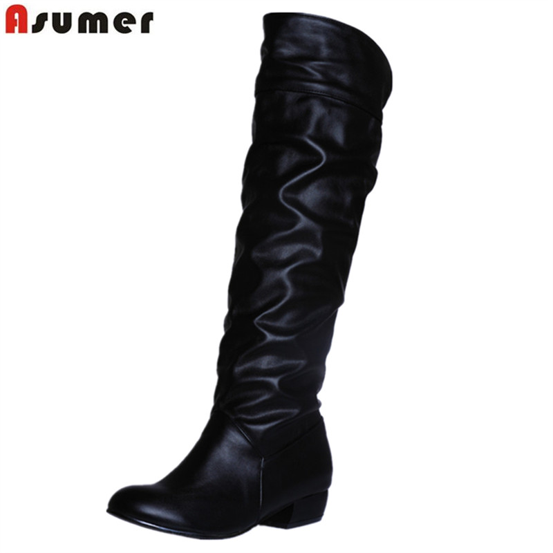 Asumer fashion hot sale new arrive women boots black white brown low heel knee boots slip on autumn winter ladies boots(China)