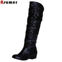 AISIMI Plus Size 2015 New Arrive Winter Mid Calf Women Boots Black White Brown Flat Heels