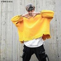 VERSMA 2017 Japanese Harajuku Super Loose Letter Printed Men Hoodies Sweatshirts Autumn Hip Hop Oversized Hoodie