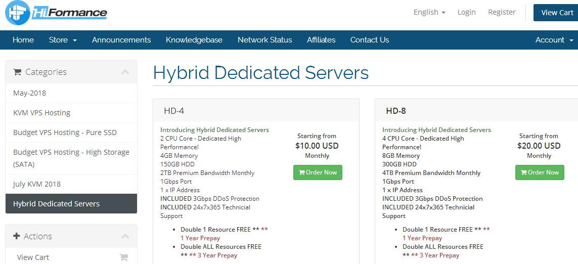 羊毛党之家 HiFormance洛杉矶QN机房KVM混合服务器/2核4G内存/150G硬盘/1Gbps/DDoS/10美元/月 年付送双倍资源