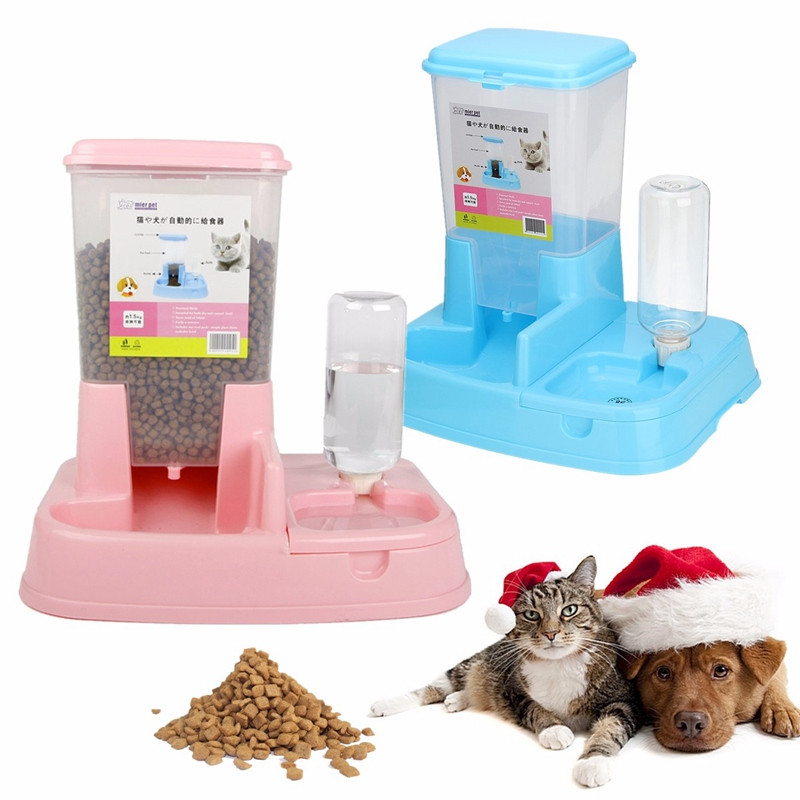 1.5L Pet Dog Cat Automatic Feeder Drinker Dogs Puppy Kitty Feeding Bowl Water Bottled Dispenser Dish Auto Large Bowl Waterer