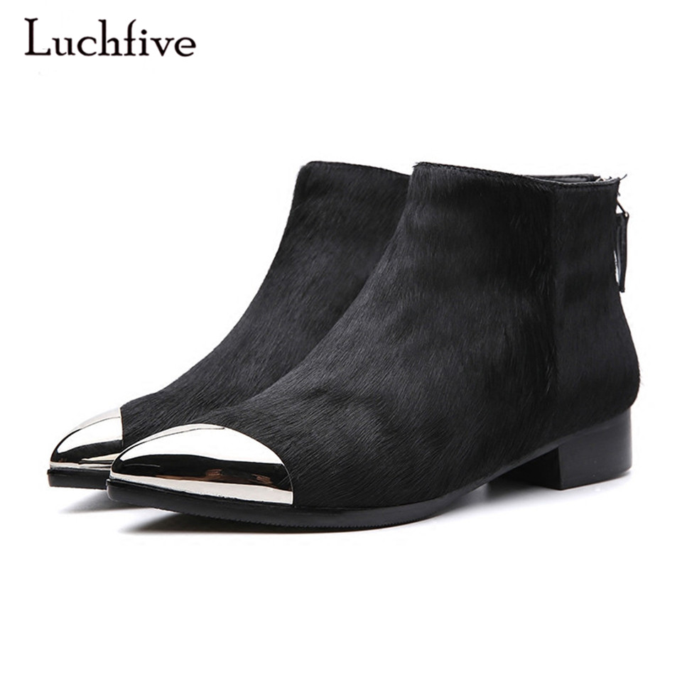 Luchfive Horsehair Pointed Metal toe Ankle Boots For Women Sexy Back Zipper Kitten Flat Heel Women Short Winter Boots casual metal and flat heel design short boots for women