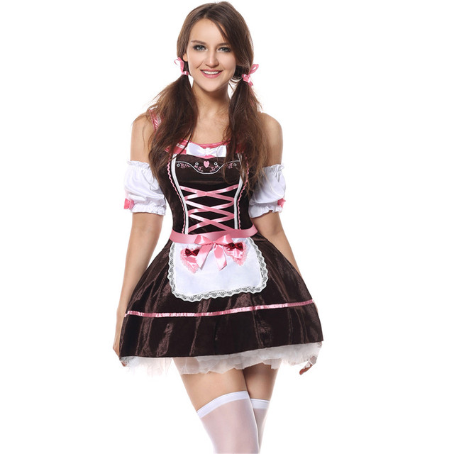 f2aa75af83 Plus Size German Beer Girl Costumes Sexy Halloween Party Sexy Role Playing Maid  Costumes For Women Oktoberfest Fancy Dress