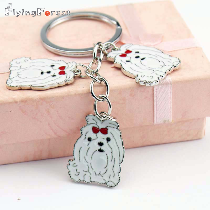 DIY Maltese hond huisdier sleutelhanger autosleutelring cadeau voor beste vriend metalen sleutelhanger vrouw sieraden sleutelhangers groothandel daling van de scheepvaart