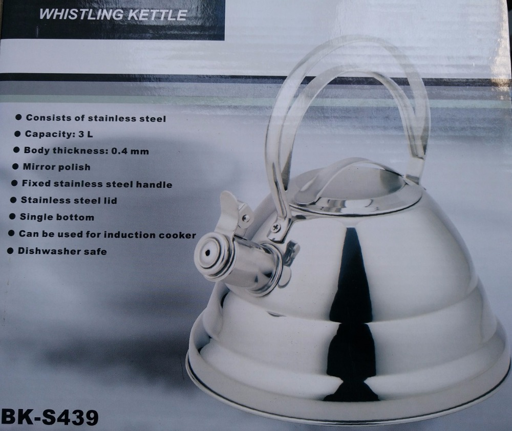 Livraison gratuite marmite à eau sifflement SS #304 acier inoxydable cuisinière à gaz/induction épaississement honking théière 3 litres