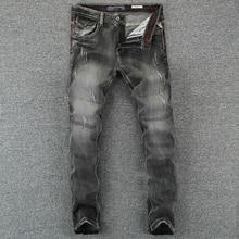 Italian Style Fashion Men Jeans Black Gray Slim Fit Denim Long Pants hombre Vintage Designer Ripped Classical