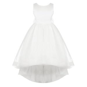 Image 3 - שנהב/לבן בנות Bowknot גבוהה נמוך Hem פרח ילדה שמלת נסיכת תחרות מסיבת יום הולדת שמלת ילדים ראשית הקודש שמלות