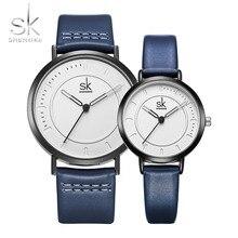 Новая мода пару часов любителей роскоши часы Для мужчин и Для женщин кожаный ремешок Нейтральный Кварцевые наручные часы подарок на день Святого Валентина Shengke