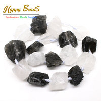 20-25mm Freeform Natural White & Black Crystal Nugget Rough Punched Loose Stone Drilled Irregular Beads 15inch/strand(F00544)