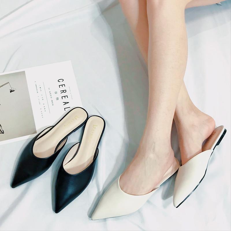 Mules Cuir Mocassins 2018 Bout Pointu En Pic Diapositives Été as Mode Femmes As Chaussures Pantoufles Rue Printemps Femme Et Pic Souple De p6o0wgqvF
