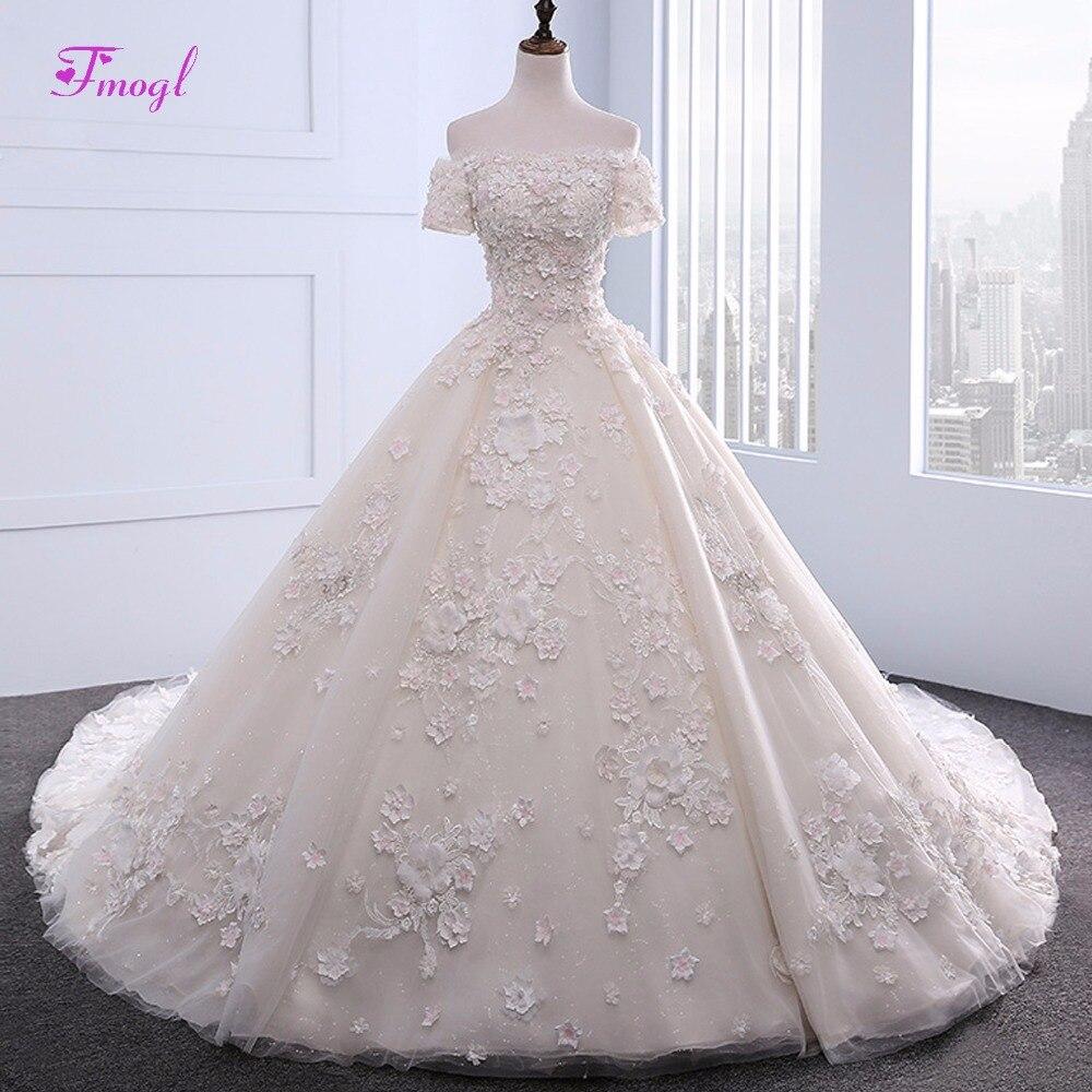Fmogl Elegant Boat Neck Appliques Flower A-Line Wedding Dress 2018 Chapel Train Vintage Short Sleeve Bride Gown Robe De Mariage